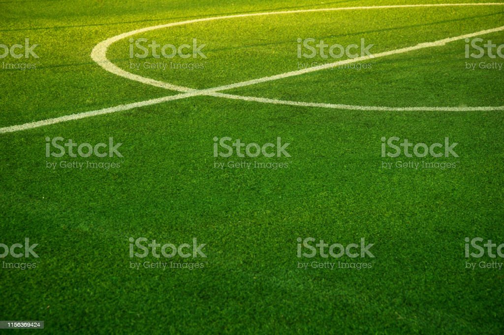 sunlight on white round line pitch middle of green grass football or...