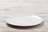 白い木製テーブルの背景に白の丸皿。分析観点ビュー
