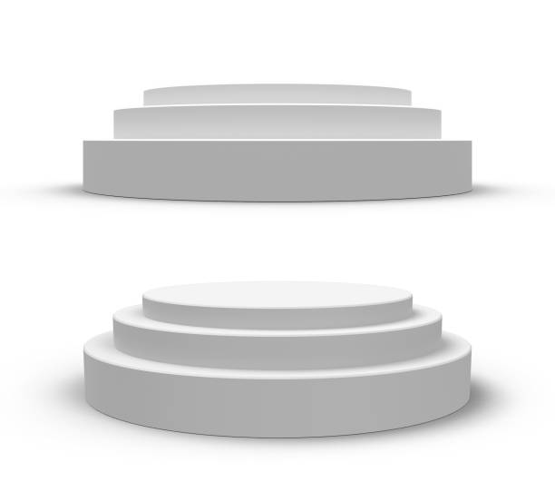 White round podium, isolated on white stock photo