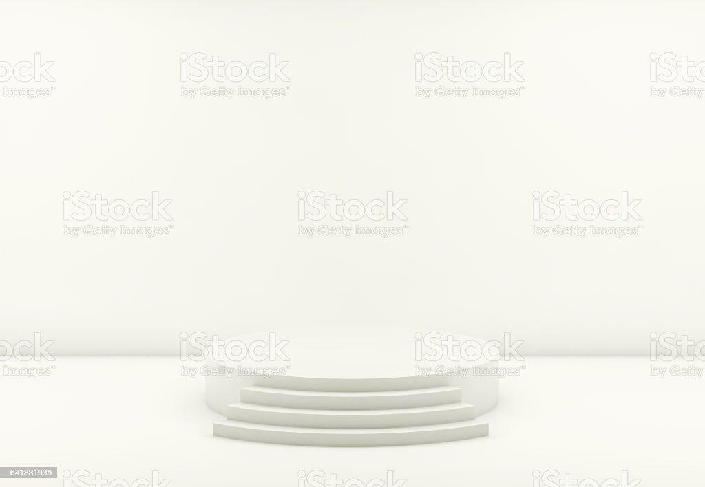 White round podium. Pedestal. Scene. 3D redner stock photo