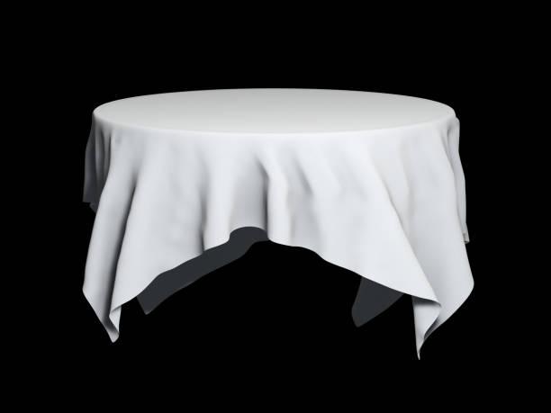 white round table cloth mockup isolated on black. 3d illustration - tovaglia foto e immagini stock