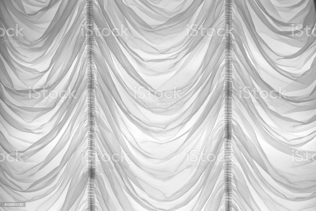 white ruffle curtain background stock photo