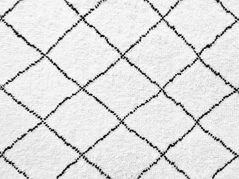 White Rug With Simple Black Lines Design Stock Photo - Download Image Now