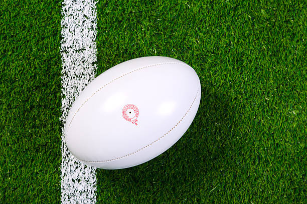 white rugby ball in a grass field shot from above - rugby ball stock photos and pictures