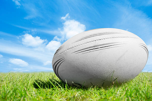 white rugby ball on green grass under blue sky - rugby ball stock photos and pictures