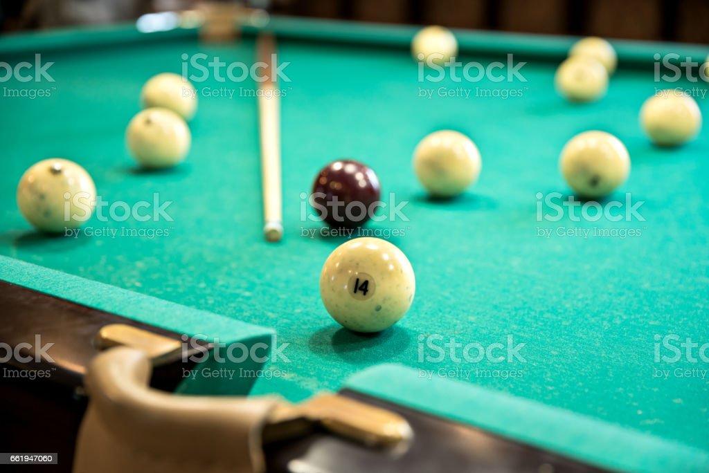 White Russian billiard ball near the pockets royalty-free stock photo