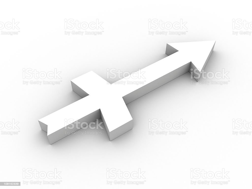White Saggitarius symbol stock photo