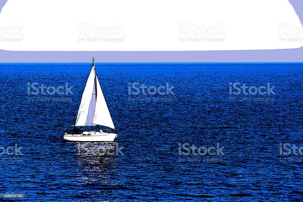 white sailboat at the blue ocean, cartoon stock photo