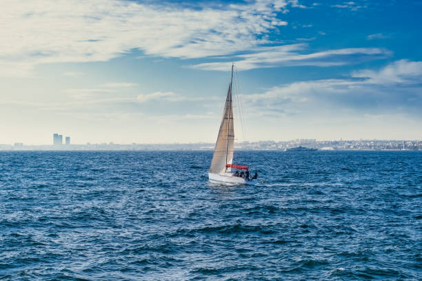 White sailboat in the sea, luxury adventure, active vacation in sea, Istanbul, Turkey stock photo