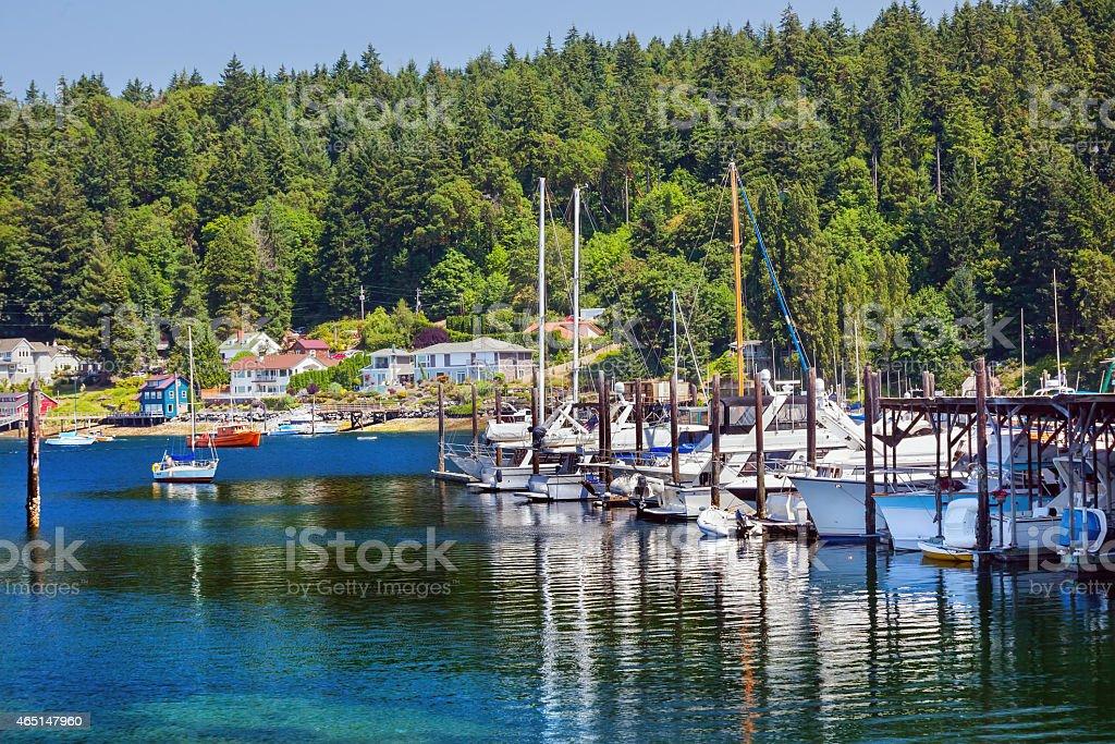 White Sailboats Marina Reflection Gig Harbor Washington State stock photo