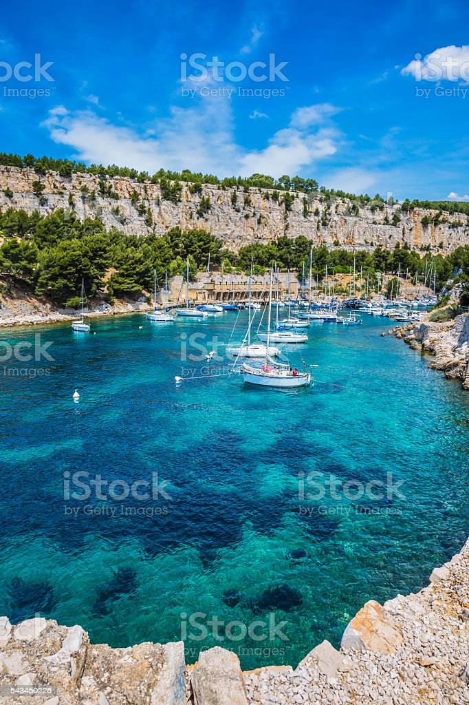 White sailing yacht waiting for their owners stock photo