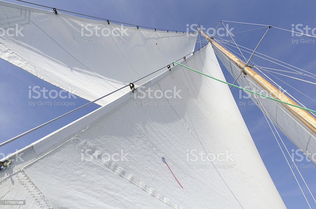 White sails of a sailing boat stock photo