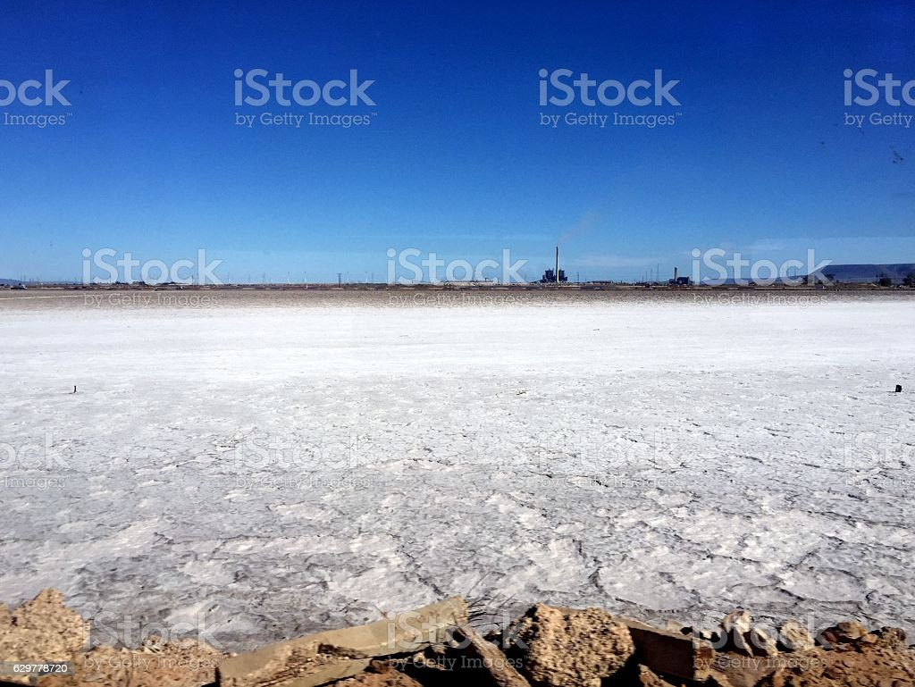 White salt and blue sky stock photo