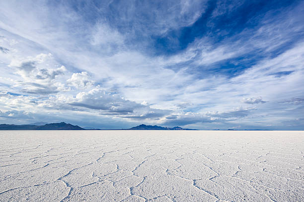 White Salt Flats near Salt Lake City, Utah Wide Angle Closeup of White Salt Flats during sunset near Salt Lake City, Utah bonneville salt flats stock pictures, royalty-free photos & images