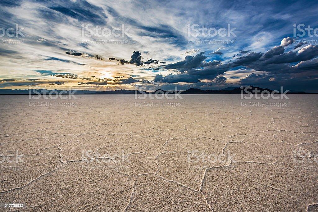 White Salt Flats with sunset near Salt Lake City, Utah stock photo