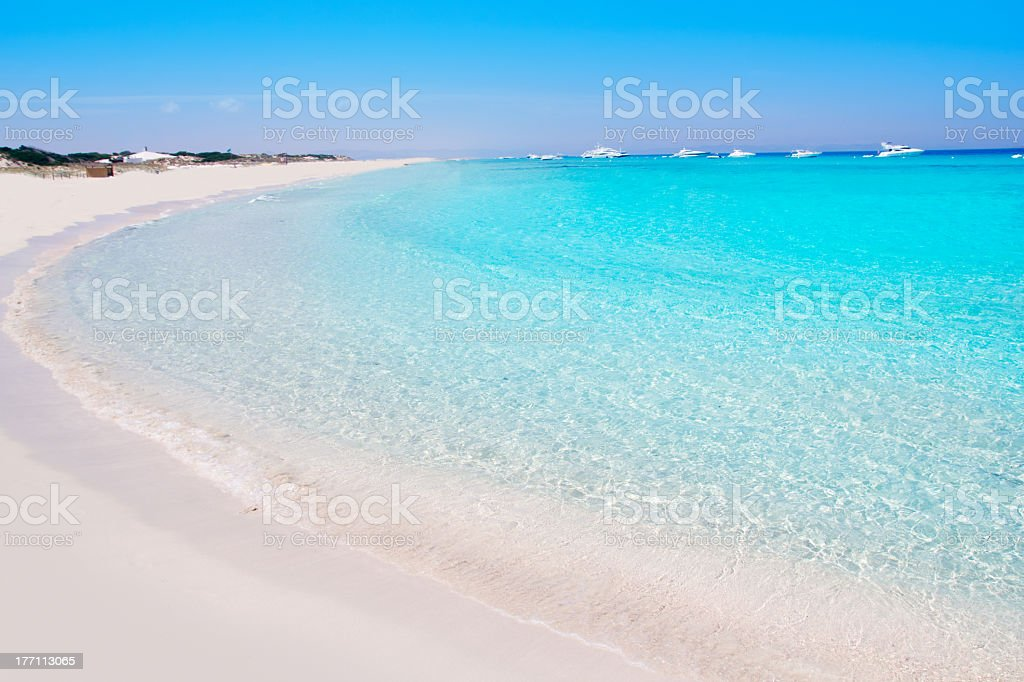 White sand and turquoise waters of Illetes Formentera East stock photo