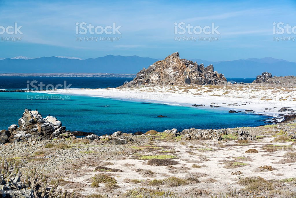 White Sand Beach and Blue Water stock photo