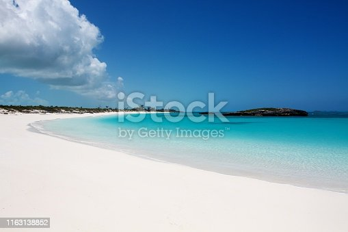Caribbean typical seascape: secluded white sand beach with incredible turquoise clear water, Exuma island, Bahamas