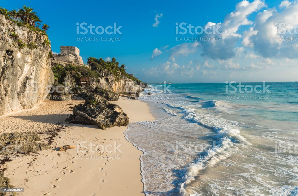 White sand beach and ruins of Tulum, Yuacatan, Mexico stock photo