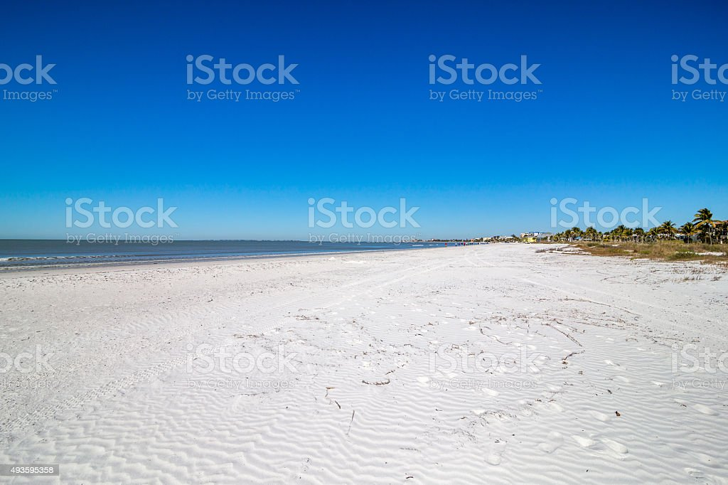 White sand beach at Fort Myers Beach stock photo