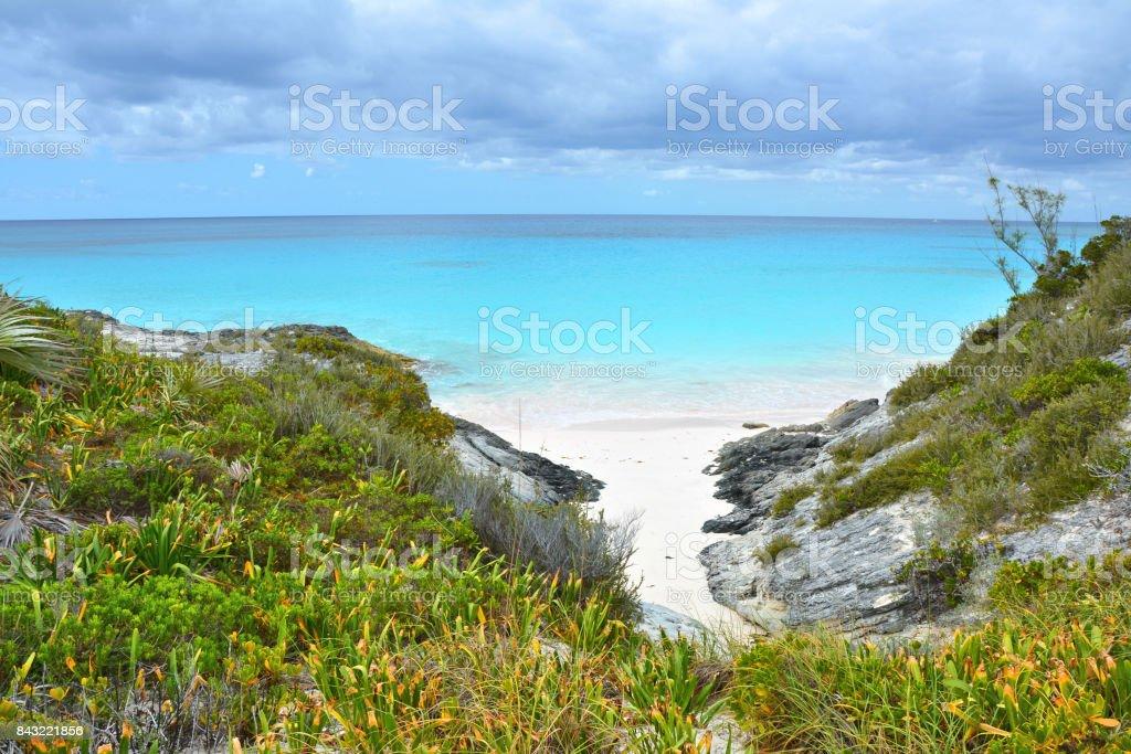 White sand beach bay on Bahamas stock photo