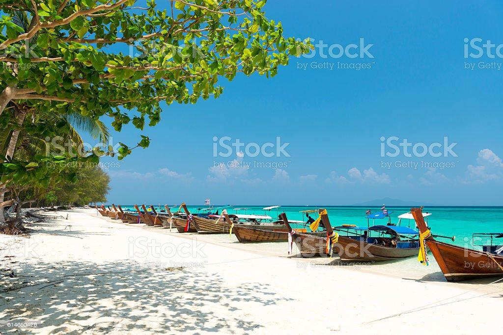 White sand beach of Bamboo island view, Phi Phi, Thailand stock photo