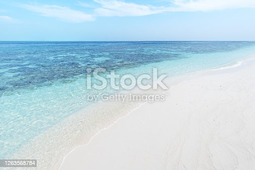 White sand beach with turquoise sea and blue sky