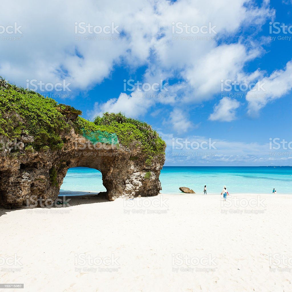 White sand tropical island beach and clear blue water, Okinawa stock photo