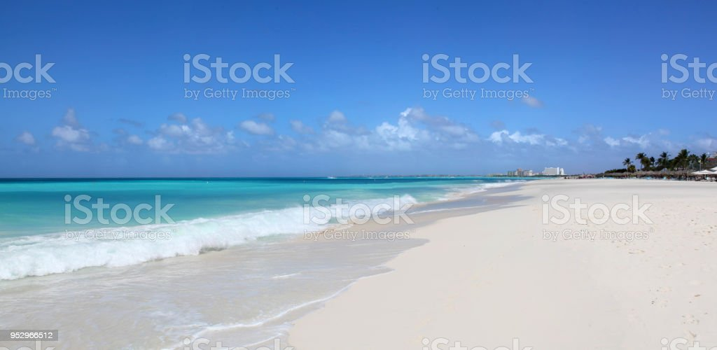 White Sands and Turquoise Waters of Eagle Beach Aruba stock photo