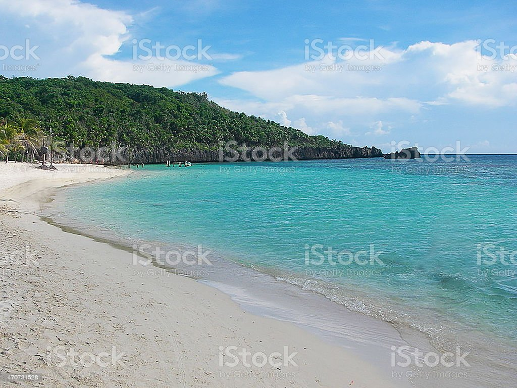 White Sandy Beach Caribbean West Bay Roatan Bay Islands Honduras stock photo