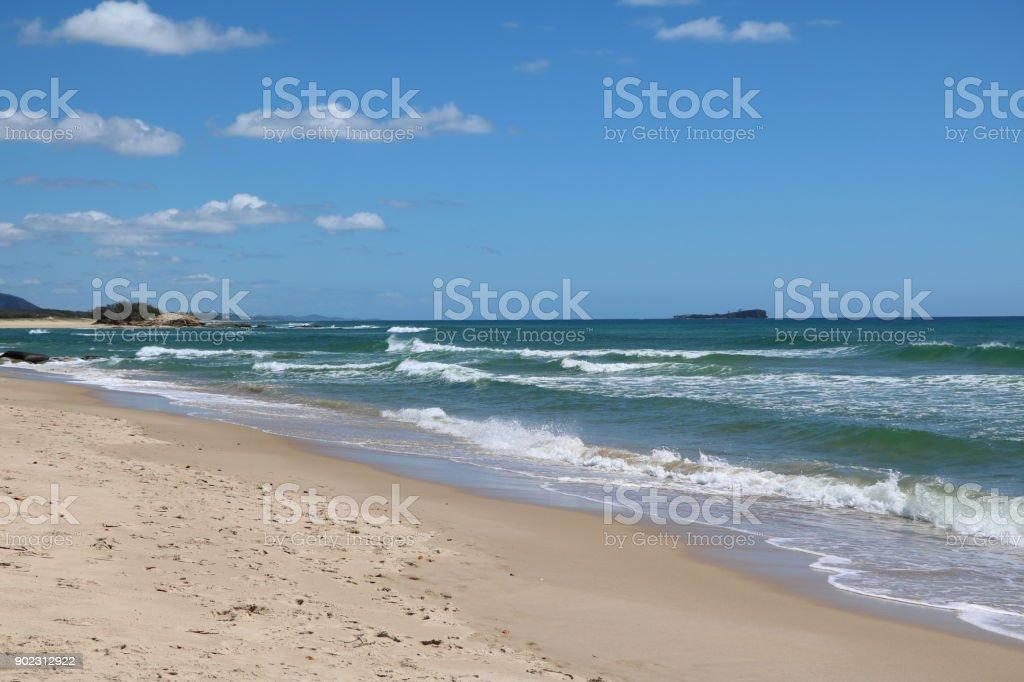 White sandy beach of Sunshine Coast in Queensland, Australia stock photo