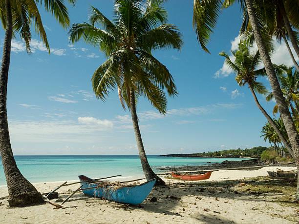 plage de sable blanc à deux bateaux de pêche - comores photos et images de collection