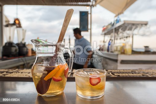 istock White Sangria at a bar at the beach 899449834