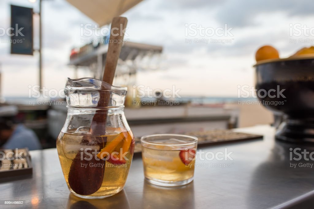 White Sangria at a bar at the beach stock photo
