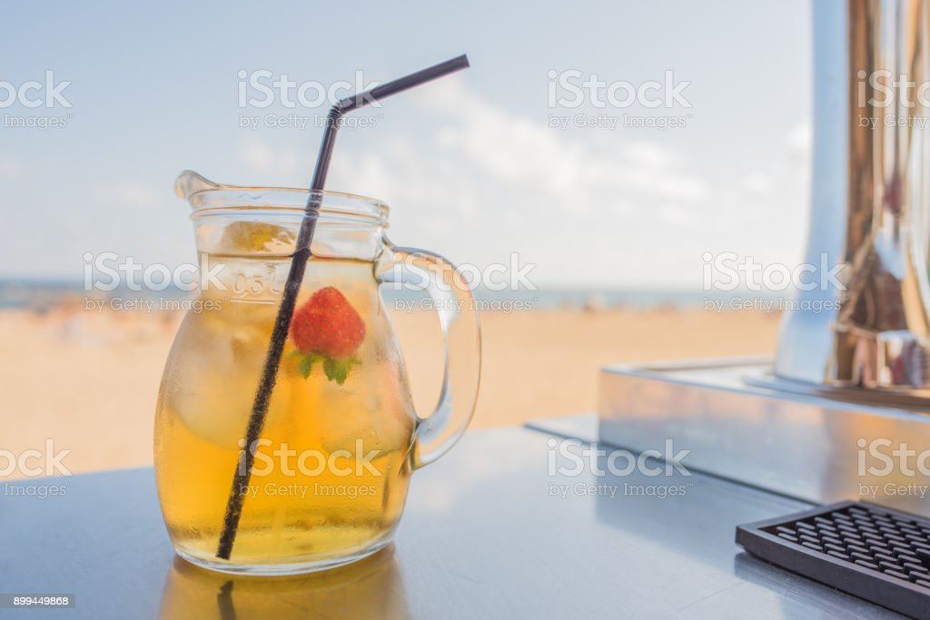 White Sangria at the beach stock photo
