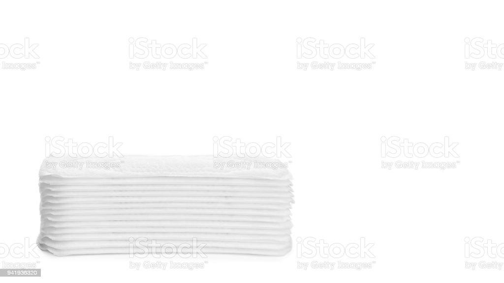 white sanitary napkin isolated on white background. copy space, template stock photo