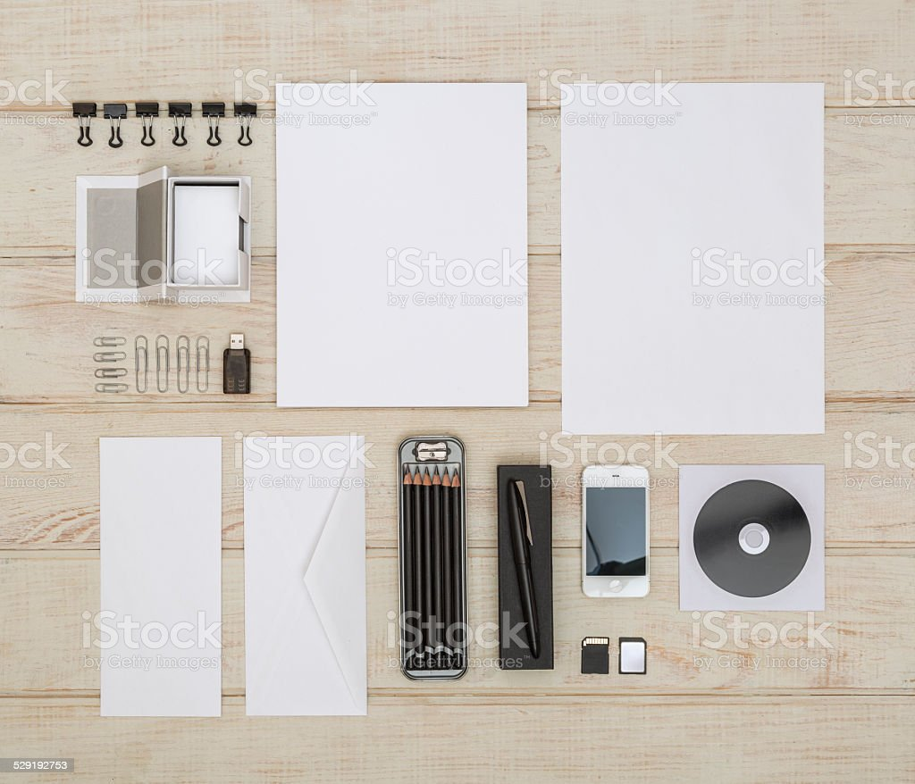 White Sationery in Blank for Mock Up stock photo