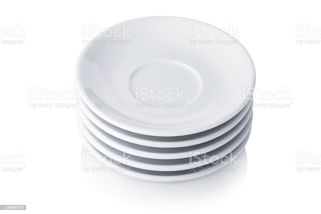 White saucers stock photo