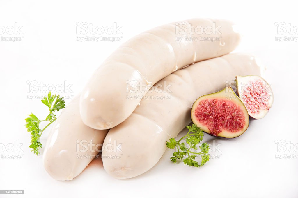 white sausage isolated on white stock photo