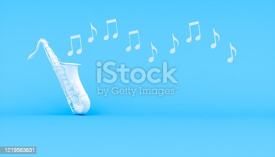istock white saxophone on a blue background 1219563631