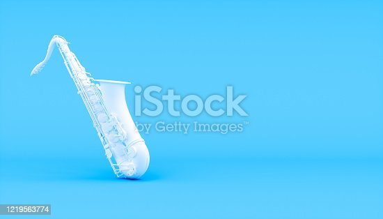istock white saxophone on a blue background 1219563774