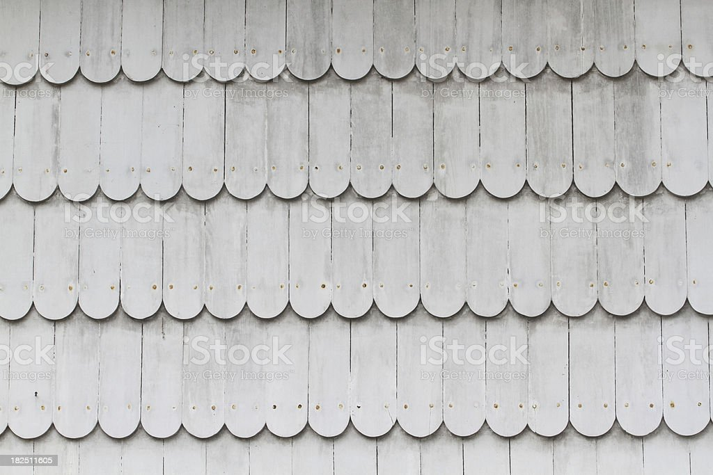 white scallop wood siding stock photo