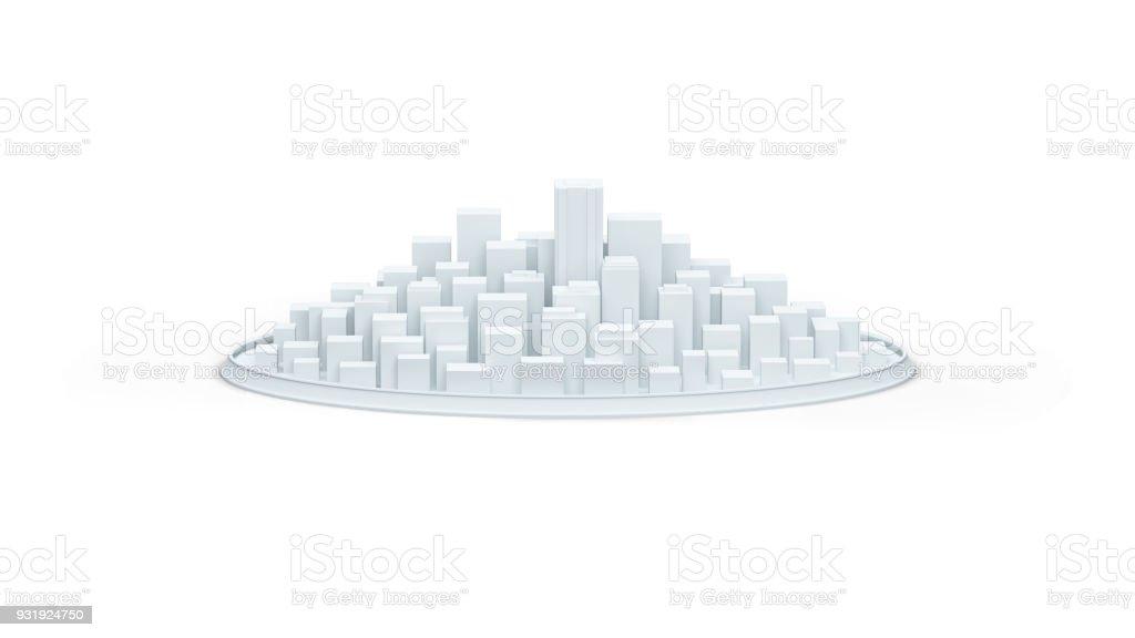 white schematic city 3d illustration render stock photo