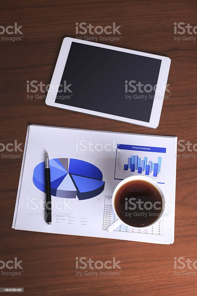 White screen digital tablet on business desk royalty-free stock photo