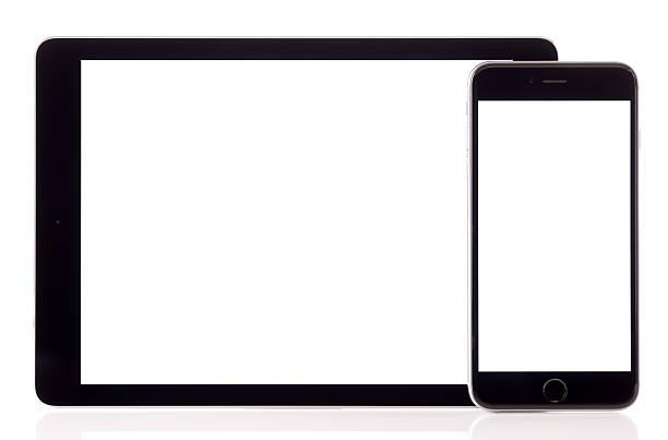 White screen iPad Air and iPhone 6 Plus stock photo