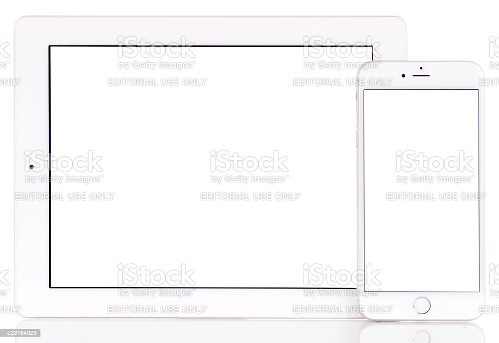 White screen iPad and iPhone 6 Plus stock photo