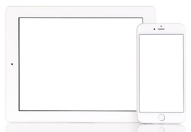 White screen iPad and iPhone 6 Plus stock photo