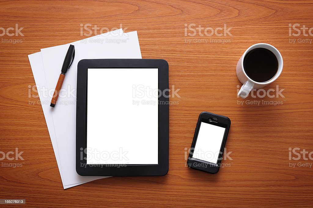 White screen tablet pc and smart phone stock photo