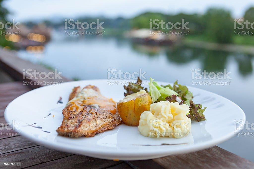 White sea bass steak sauce. stock photo