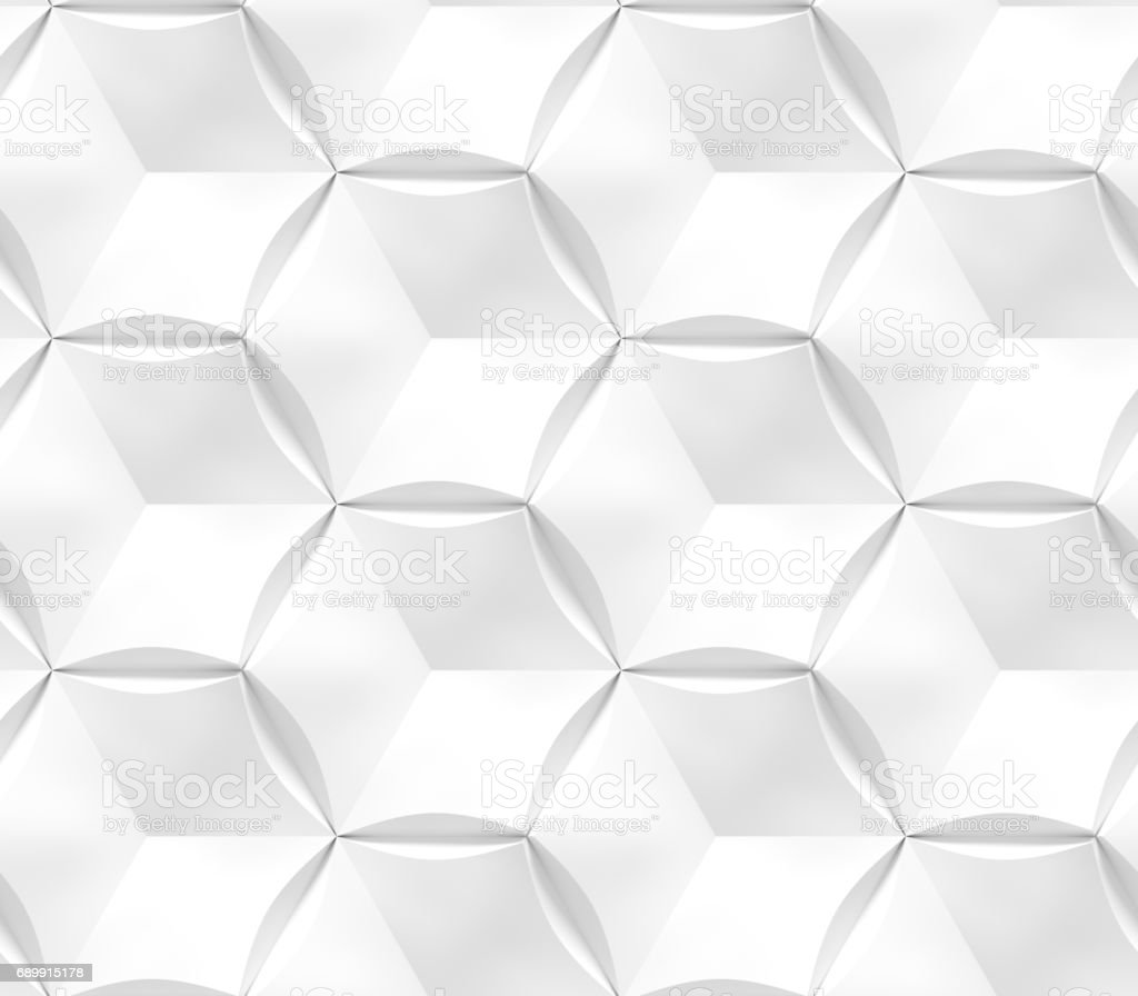 White seamless geometric texture. Origami paper style. Hexagonal elements. 3D rendering background. stock photo